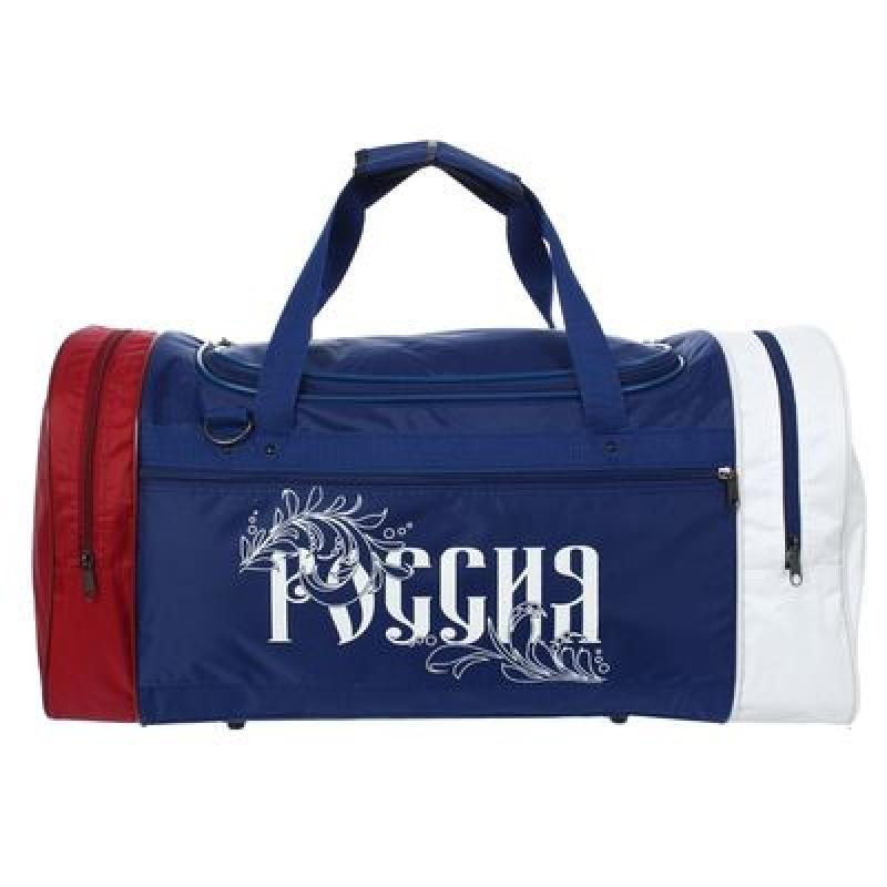 Сумка спортивная на молнии SL Патриот, 3 отдела, 1 наружный карман, синяя