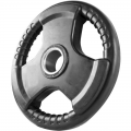 Диск обрезиненный черный с тройным хватом 15 кг диаметр 26 мм