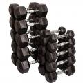 Гантельный ряд AS на 5 пар гексагональных гантелей от 20 кг до 40 кг