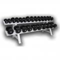 Гантельный ряд обрезиненный ГР-3,5-31 на 12 пар с шагом 2,5 кг от 3,5 до 31 кг