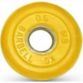 Диск обрезиненный цветной MB Barbell вес 0,5 кг диаметр 26мм, 30 мм, 50 мм