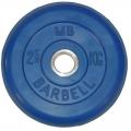 Диск обрезиненный цветной MB Barbell вес 2,5 кг диаметр 26мм, 30 мм, 50 мм