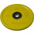 Диск обрезиненный цветной олимпийский MB Barbell Евро-классик вес 15 кг диаметр 51 мм