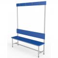 Скамейки для раздевалки со спинкой односторонняя с вешалкой из  ЛДСП 1,5 м