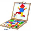 Конструктор магнитный СЛ Геоформ (в деревянной коробке, набор карточек, фигуры)