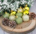 Шары новогодние SL Домик набор 12 шт (9 шаров,3 шишки) 4x11,5x20 см, золото