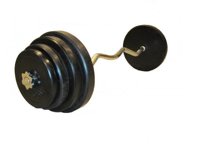 Штанга с обрезиненными дисками в наборе и гнутым грифом, общий вес 75 кг  + 2 грифа для гантелей
