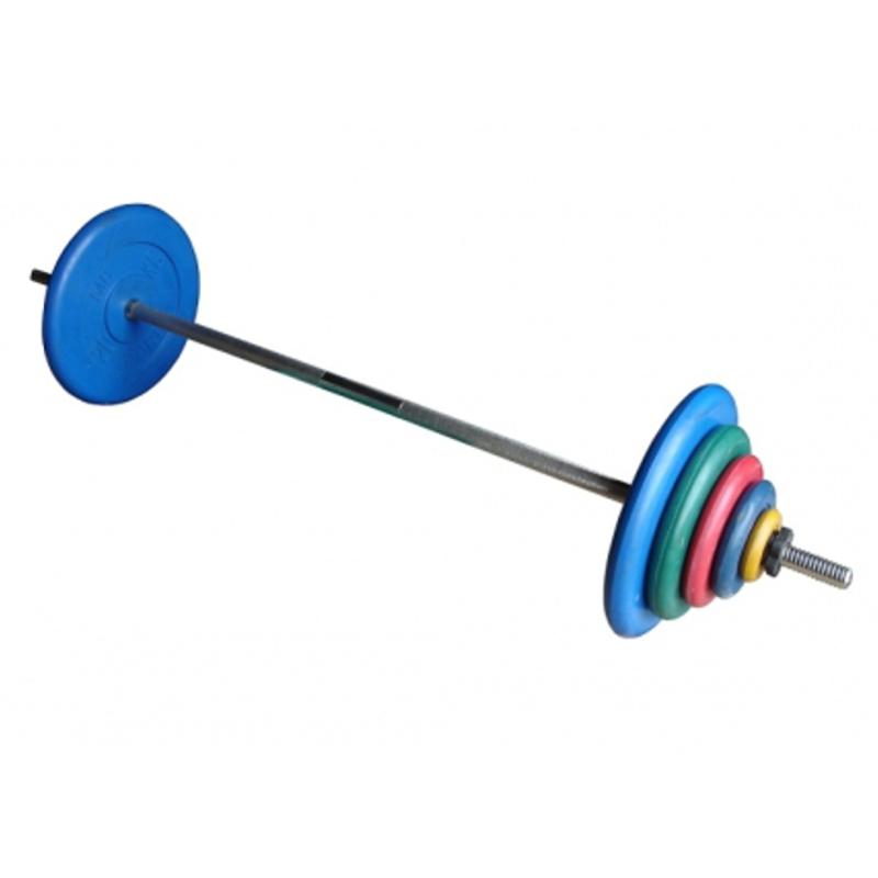 Штанга с цветными обрезиненными дисками в наборе, общий вес 30 кг + 2 грифа для гантелей