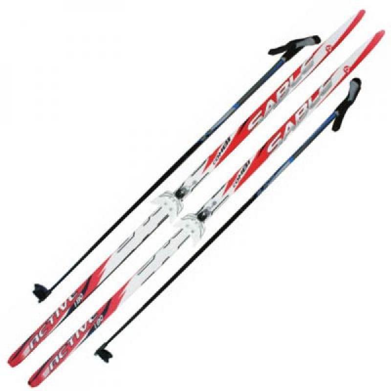 Лыжный комплект 180-210 см с насечками, палками и креплениями NN 75