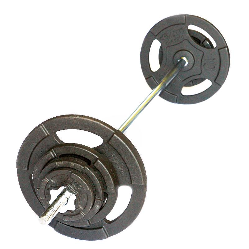 Штанга с чугунными дисками с хватами 45 кг