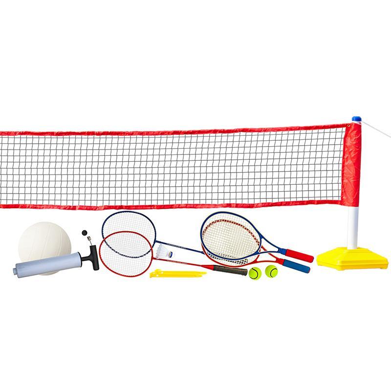 Набор для волейбола, тенниса, бадминтона с сеткой Prazer 3 в 1 (полный набор аксессуаров)