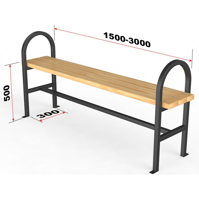 Уличная скамейка без спинки Полукруг 17.65