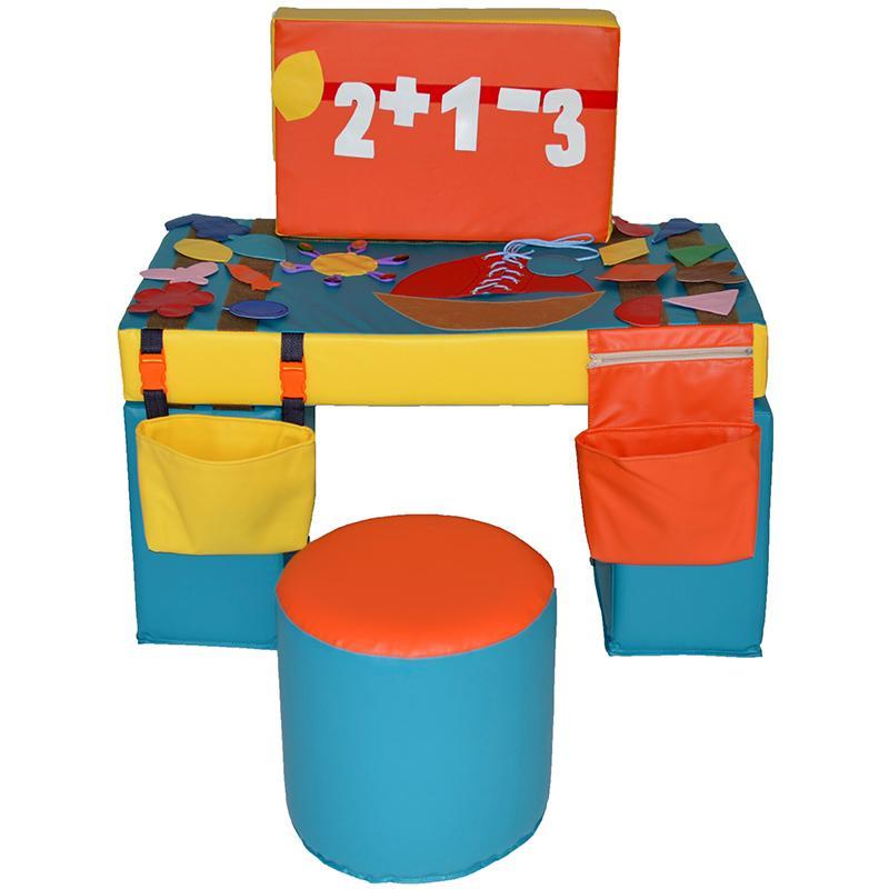 Дидактический стол из мягких модулей и пуф АК