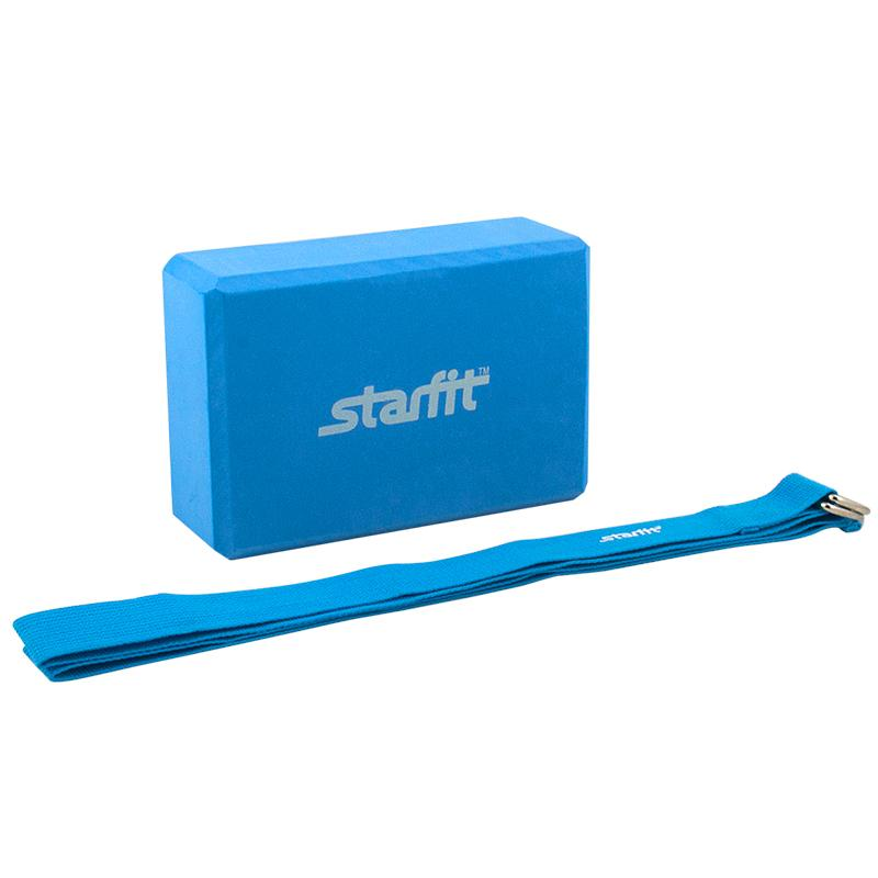Комплект из блока и ремня для йоги STARFIT FA-104