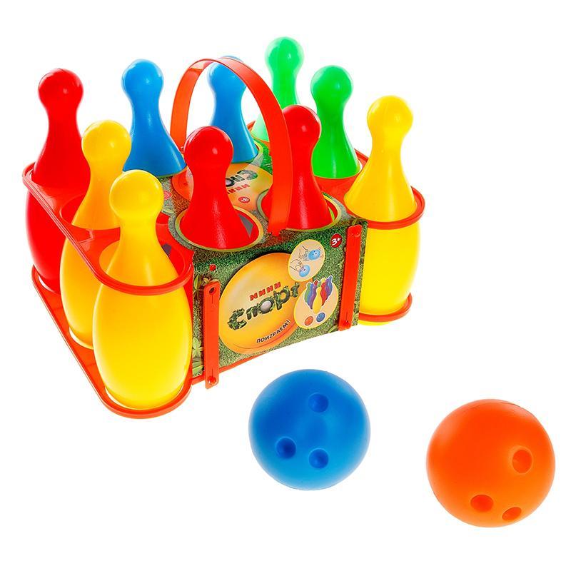 Боулинг СЛ Мини-спорт (10 кеглей, 2 шара, подставка)