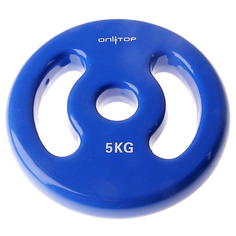 Диск виниловый цветной c двойным хватом ONLITOP 5 кг диаметр 30 мм