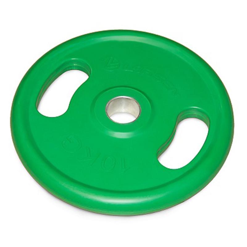 Диск обрезиненный с ручками NT121NС 10 кг зеленый диаметр 50 мм