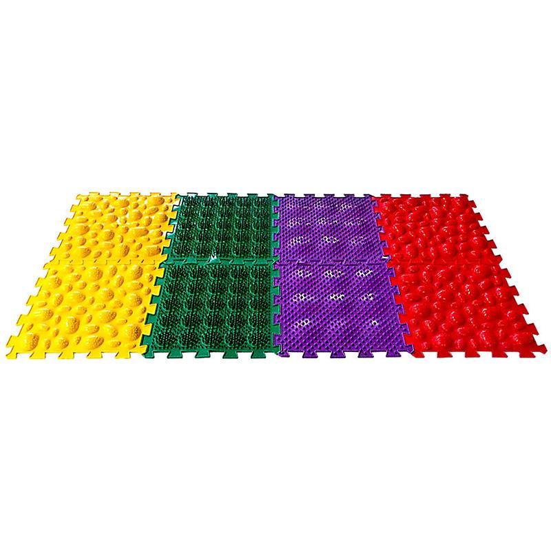 Детский массажный коврик SL 8 модулей, 4 вида покрытия, МИКС 3