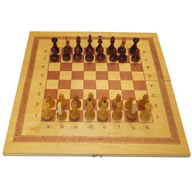 Игра 2 в 1 дерево: шашки, шахматы лакированные ES-0500 (41 x 43 x 1,5 см)