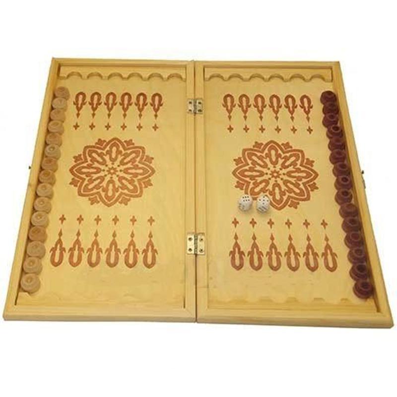 Игра 2 в 1 дерево: нарды, шашки ES-0499 (41 x 43 x 1,5 см)
