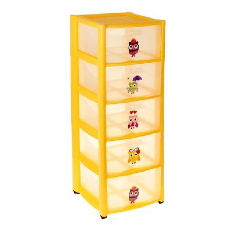 Комод для игрушек на колёсиках SL, 5 выдвижных ящиков с аппликацией, цвет жёлтый