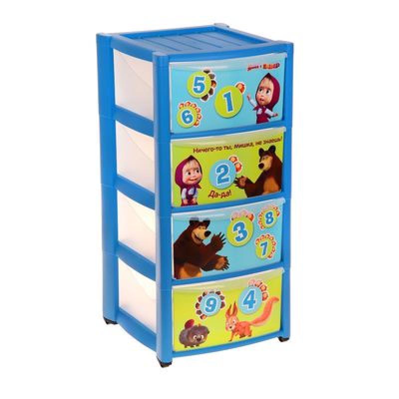 Комод детский из 4 ящиков SL Маша и Медведь, цвет голубой