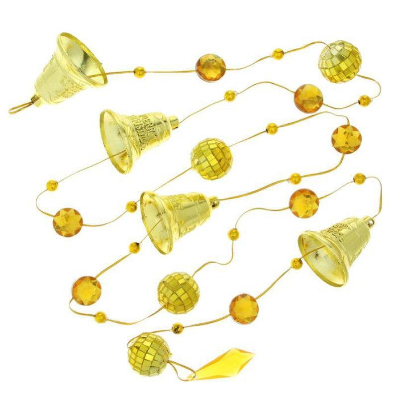 Бусы на ёлку SL Зеркальные шарики с колокольчиками золото