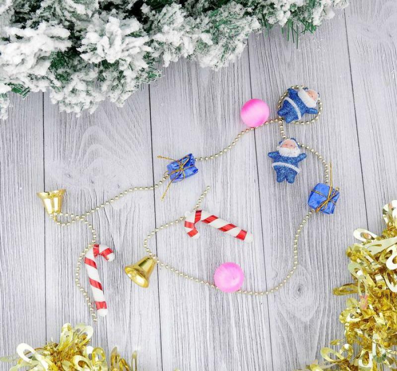 Бусы на ёлку SL 90 см Дед Мороз, подарки, шарики