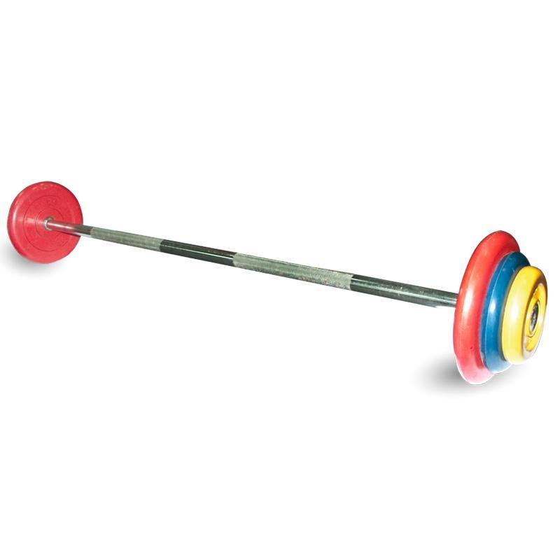 Штанга неразборная с цветными дисками MB-BarMW-C25 25 кг