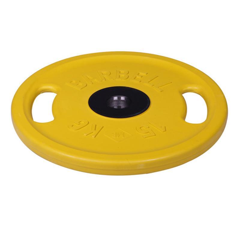 Диск обрезиненный цветной олимпийский MB Barbell Евро-классик с ручками вес 15 кг диаметр 51 мм