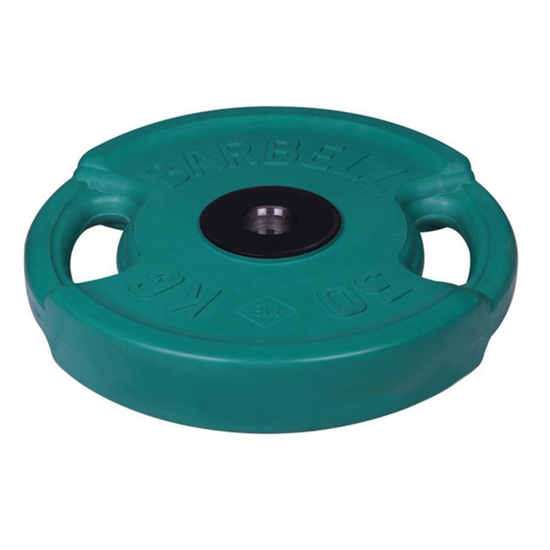 Диск обрезиненный цветной олимпийский MB Barbell Евро-классик с хватами вес 50 кг диаметр 51 мм