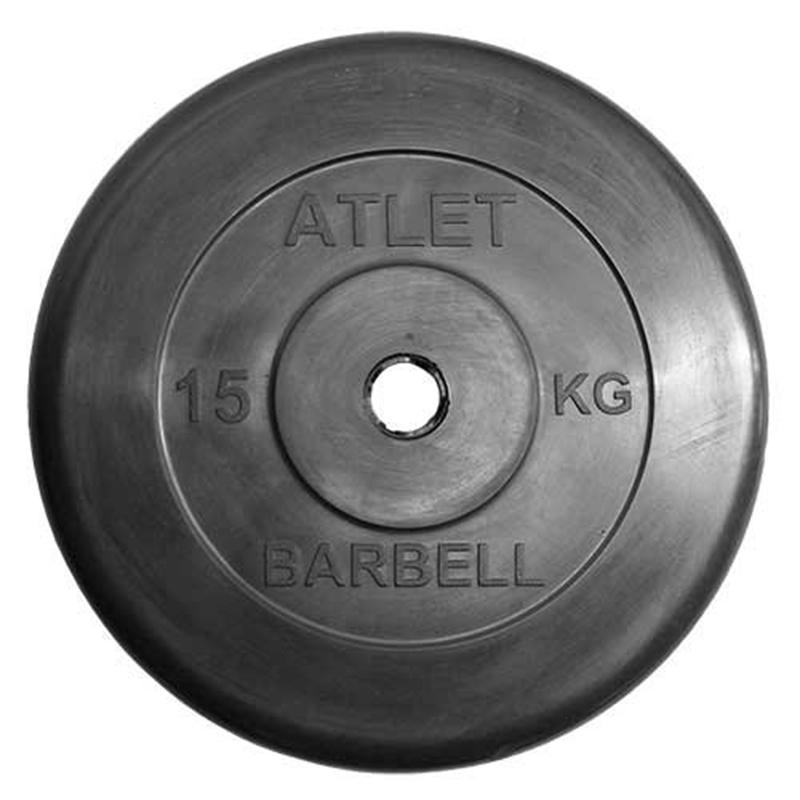 Диск обрезиненный ATLET 15 кг диаметр 26, 31, 51 мм