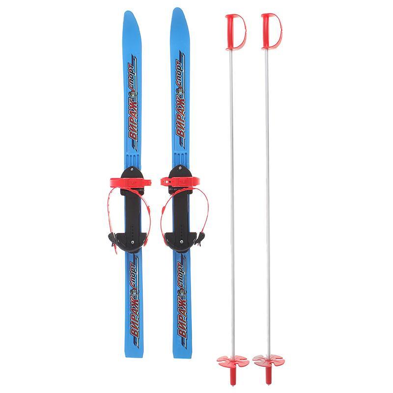 Детские пластиковые лыжи Вираж-спорт 100 см (с палками)