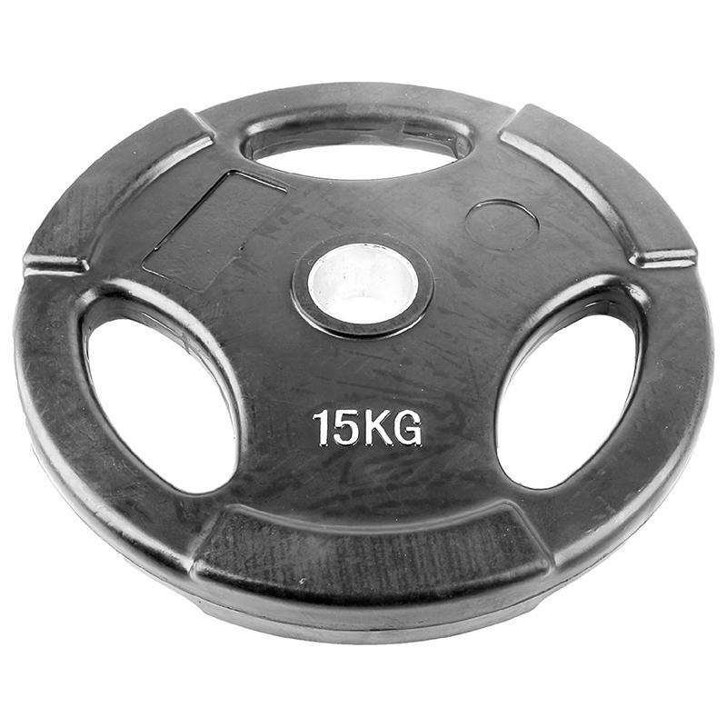 Диск обрезиненный черный с тройным хватом ONLITOP 15 кг диаметр 50 мм