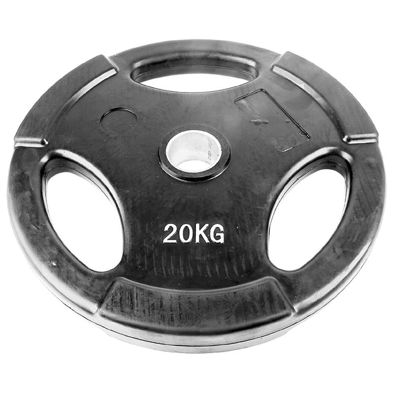 Диск обрезиненный черный с тройным хватом ONLITOP 20 кг диаметр 50 мм