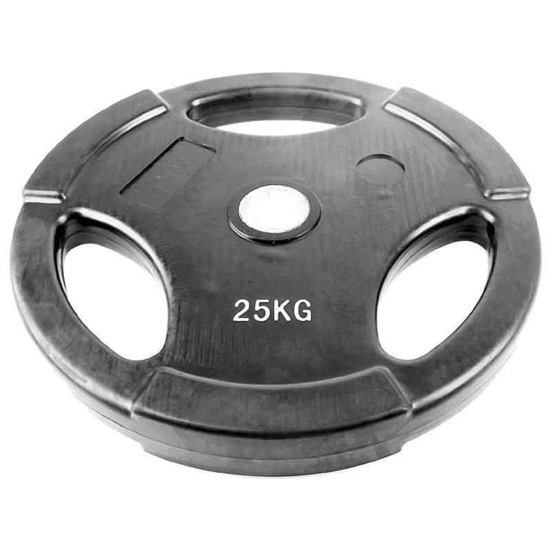 Диск обрезиненный черный с тройным хватом ONLITOP 25 кг диаметр 50 мм