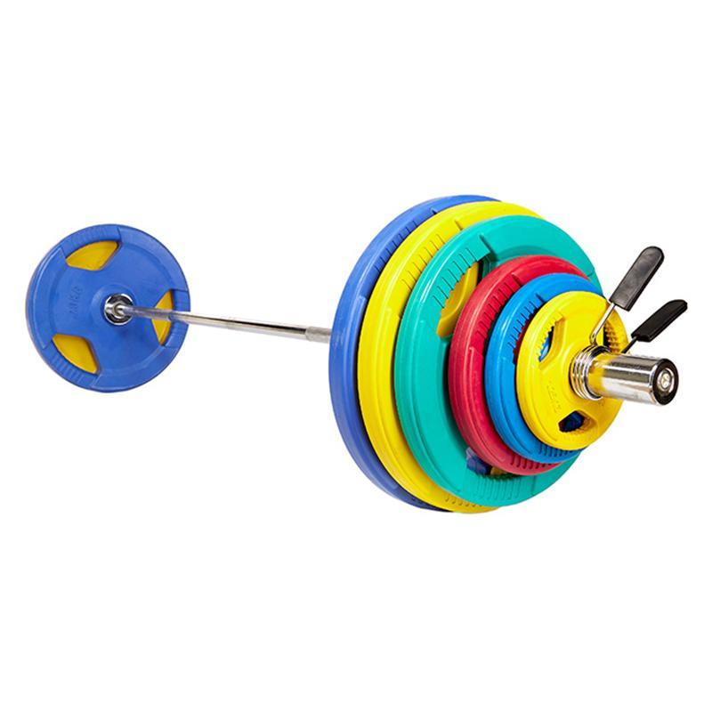 Штанга олимпийская с обрезиненными цветными дисками ЕВРО-КЛАССИК с тройным хватом  100 кг, диаметр 50мм, гриф 2200мм