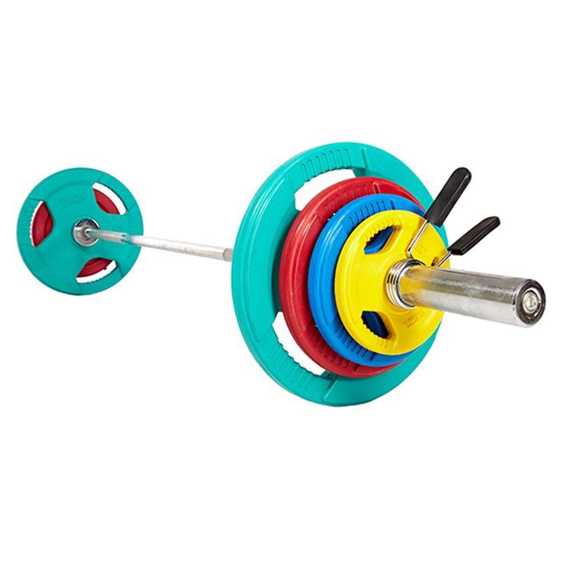 Штанга олимпийская с обрезиненными цветными дисками ЕВРО-КЛАССИК с тройным хватом 50 кг, диаметр 50 мм, гриф 2200 мм