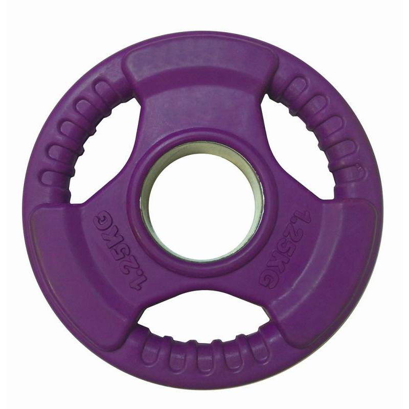 Диск обрезиненный цветной c тройным хватом LC 1,25 кг, диаметр 51 мм