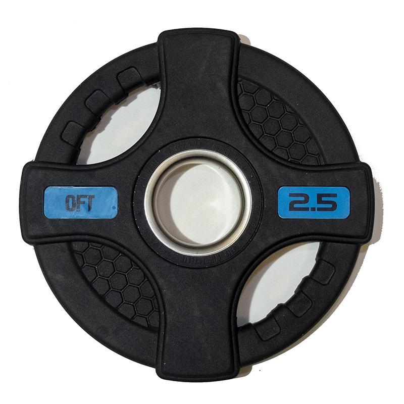 Диск обрезиненный черный с двумя хватами 2,5 кг, диаметр 51 мм