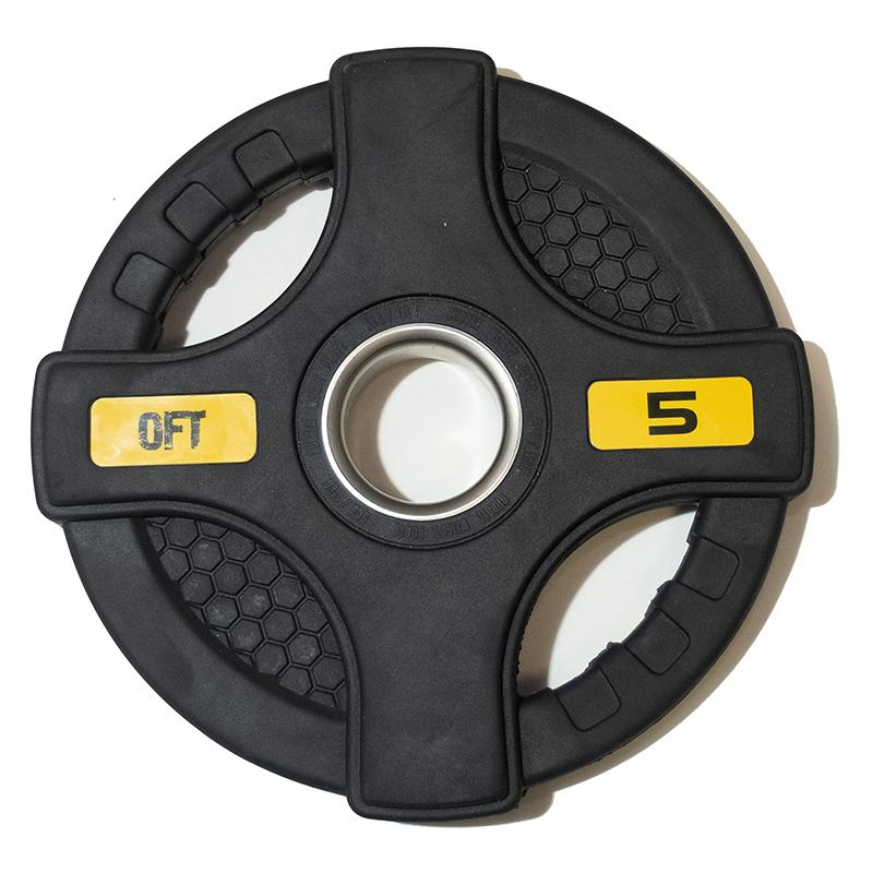 Диск обрезиненный черный с двумя хватами 5 кг, диаметр 51 мм