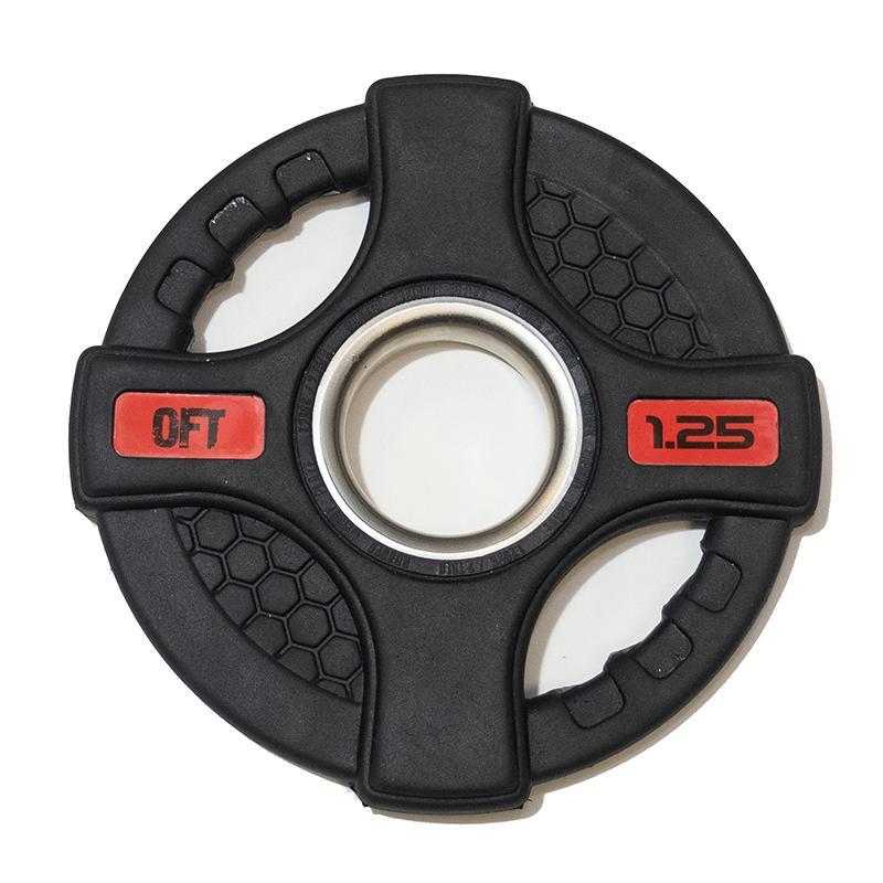 Диск обрезиненный черный с двумя хватами 1,25 кг, диаметр 51 мм