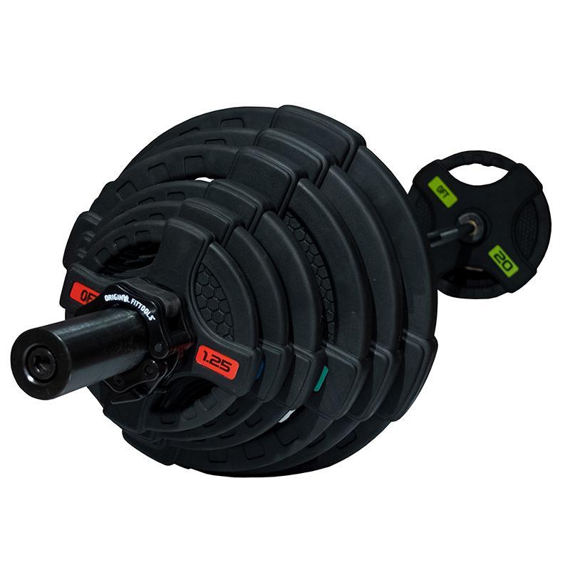 Штанга с обрезиненными дисками с двойным хватом, вес 128 кг (диски 51 мм, гриф 220 см)