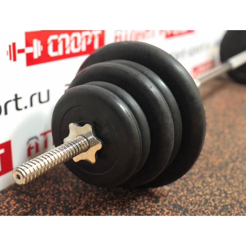 Штанга с обрезиненными дисками в наборе, общий вес 60 кг