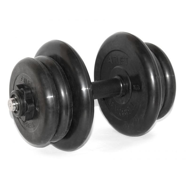 Гантель обрезиненная разборная АТЛЕТ 22,5 кг
