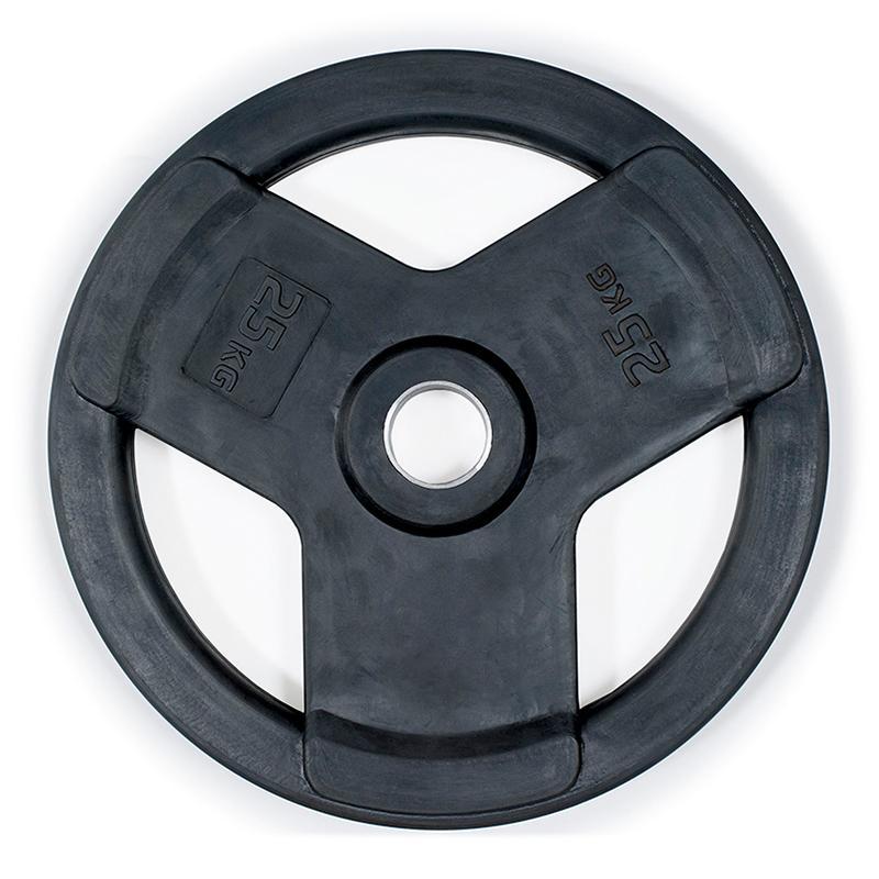 Диск обрезиненный с 3-мя хватами черный IK Saturn 25 кг, диаметр 51 мм