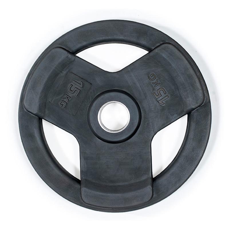 Диск обрезиненный с 3-мя хватами черный IK Saturn 15 кг, диаметр 51 мм
