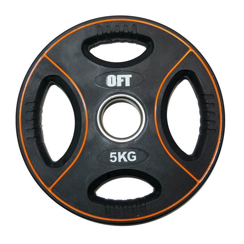 Диск для штанги олимпийский полиуретановый 5 кг, диаметр 51 мм