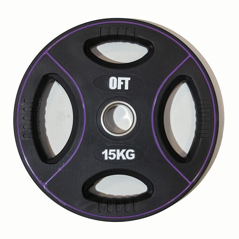 Диск для штанги олимпийский полиуретановый 15 кг, диаметр 51 мм