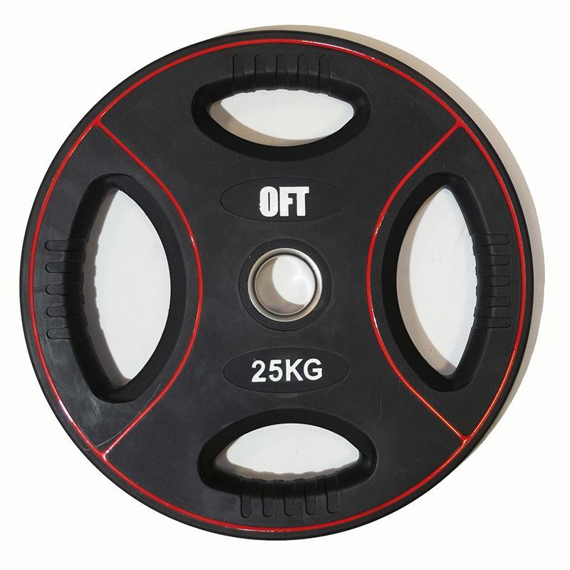 Диск для штанги олимпийский полиуретановый 25 кг, диаметр 51 мм